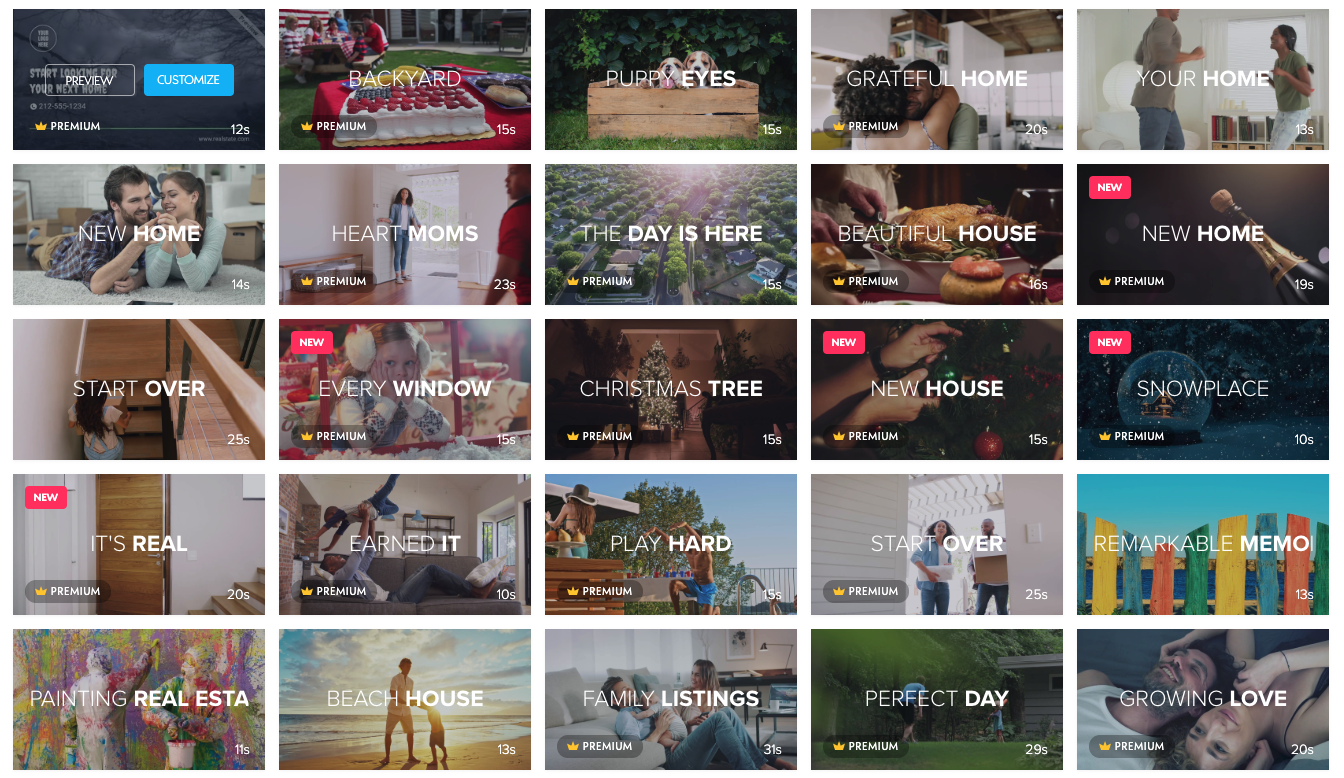 Real Estate video templates page